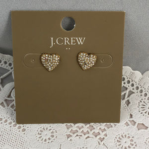 J. Crew Jewelry - J.CREW Pavé Heart Earrings Gold Tone